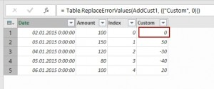 Replacing errors with values in Power Query